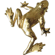 SALE Trifari Brushed Gold Tone Frog Pin