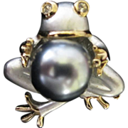 SALE Enamel Frog Holding a Giant Gray Faux Pearl Figural Pin