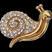 SALE Prettiest Krementz Rhinestone Snail Figural Pin