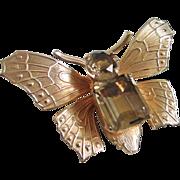 Genuine Smokey Topaz Quartz Butterfly Figural Pin