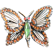 SALE Early Weiss Rhinestone and Copper Butterfly Pin