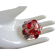 SALE Ruby Red and Shades of Pink Rhinestone Pin Brooch