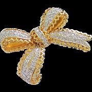 SALE Nolan Miller Dimensional Rhinestone Bow Pin Brooch
