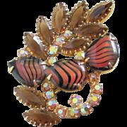 SALE Tiger Stripe Art Glass, AB and Smokey Topaz Rhinestone Brooch Pin