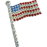 SALE Red, Clear and Blue American Rhinestone Flag Patriotic Pride Pin