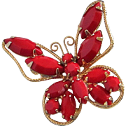 SALE Vintage Lipstick Red Glass Navette Butterfly Pin