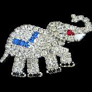 SALE Sparkling Patriotic Rhinestone Elephant Pin Brooch