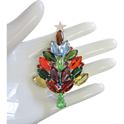 Dazzling Multi Colored Navette Rhinestone Holiday, Christmas Tree Pin