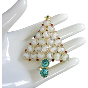 SOLD Unique White Art Glass, Rhinestones Christmas Tree Pin ~ SOLD to Patricia K.