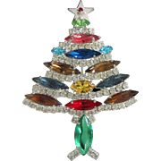 SALE PENDING Vintage Multi Colored Rhinestone Christmas Tree, Holiday Pin
