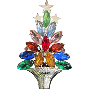 Colorful Navette Rhinestone Holiday, Christmas Tree Pin