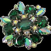 SALE Brilliant Emerald Green and AB Rhinestone Pin Brooch