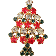 Unique Star and Rhinestone Christmas Tree Holiday Pin Brooch
