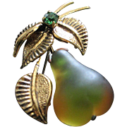 SALE Forbidden Fruit Glowing Green and Gold Molded Glass Pear Pin