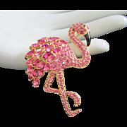 SALE Flashy Nolan Miller Fuchsia Rhinestone Flamingo Pin Brooch