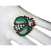 Petite Vintage Emerald Green and Clear Rhinestones, Japanned Bug Figural Pin