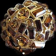Incredible 3 Shades of Topaz Rhinestone Ring, Size 12