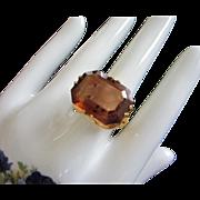 Large Open Back Topaz Rhinestone Ring, Size 11