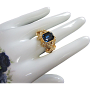 SALE Elizabeth Taylor Imitation Sapphire and Diamond Ring, Size 12
