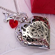SOLD Heart Pocket Watch Necklace Victorian Style Antiqued Silver plated Filigree