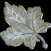 Marked 800 Silver Maple Leaf Filigree Brooch