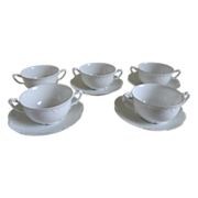 Set of Bouillon Cups and Saucers A. Klingenberg / Charles Dwenger, Limoges 1890's - 1910
