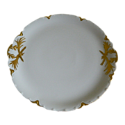 Haviland Limoges Large Round Footed Serving Platter with Handles