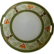 R S Germany Strawberry Cake Plate with Handles 1920 - 1930's