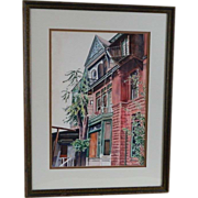 Framed Water Color Painting of a Brownstone, Artist Signed, 1973