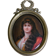 Miniature Portrait Painted on Porcelain in Brass Frame