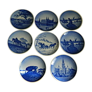 Set of 8 Aluminia / Royal Copenhagen Miniature Plate Wall Plaques 1953 - 1967, Denmark
