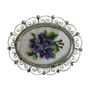 Darling Vintage Violet Needlepoint Brooch in Silver Tone Filigree  Setting