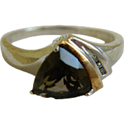 Vintage Sterling Silver and 14k Gold Accent Smokey Quartz, Size 9 1/4