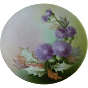 Thomas Sevres Bavaria Hand Painted Thistle Plate, 1908 - 1939
