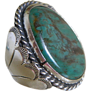 Navajo Hand Crafted Heavy Sterling Silver  Ring with Turquoise, Size 9 1/4