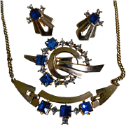 Art Deco Style, Gold Tone with Blue and Clear Rhinestone  Necklace, Brooch, and Earrings, Mid