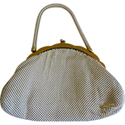 SALE PENDING Whiting & Davis Cream Colored mesh Purse, Mid-Century