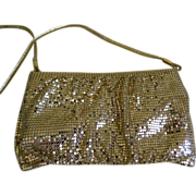 Whiting & Davis Gold Mesh Purse with Shoulder Strap, 1970's - 1980's