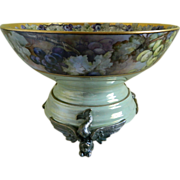 Gorgeous Hand Painted Limoges Punch Bowl with Unique Plinth / Base, 1900