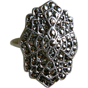 Art Deco, Uncas, Sterling Marcasite Ring, Size 4