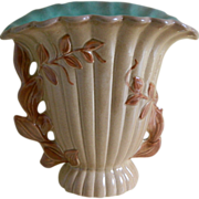 Lovely Red Wing  Brown and Turquoise Vase with a Leaf Motif, 1950's