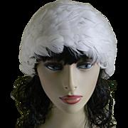White Feathered Women's Hat, Asti, La Plume, 1960's