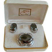Cini Sterling Silver with Oval Hematite Stones Brooch / Pendant and Earrings, Mid-Century