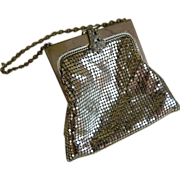 Whiting and Davis Silver Tone Mesh Purse with Rhinestone Clasp