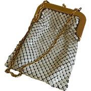 Whiting and Davis Cream Colored Mesh Purse with Gold Trim