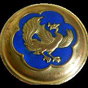 Beautiful Metal Enameled Round Box with Phoenix