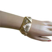 Unique Brushed Gold Tone Chunky Bracelet, 1960's