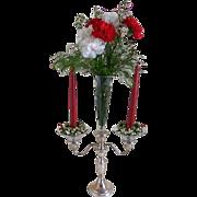 SOLD Vintage Crown Sterling Silver Candelabra with Etched Cone Shaped Center Vase