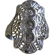 Uncas Art Deco Style Sterling Silver Ring, Size 7 1/2