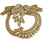 Dazzling Clear Rhinestone Pendant or Brooch. 1930's - 1940's